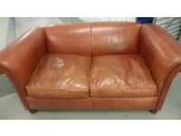 brown leather 2 seater sofa VGC