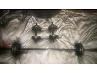 Barbell and dumbell set (weights) + gym ball