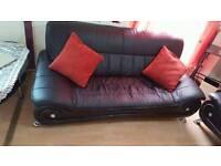 3 piece black leather sofa