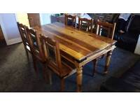 Indian Sheesham solid oak dining table and 6 chairs