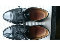 Mens Black Leather Parade Shoes British Army / RAF / Cadet With Toe Cap – Size 9 (EU 43)