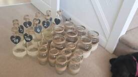 25 various sized glass jars with Hessian and Lace