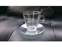 Set of 8 brand new stylish clear coffee glasses with saucers (Bormioli Rocco)