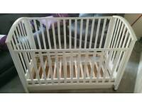 Beautiful white cot with drop side great condition