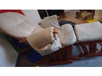 Nursing rocking chair and rocking footstool for sale