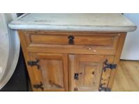 Wooden shabby chic cupboard/chest with drawer
