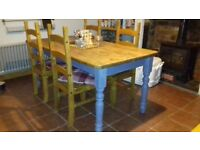 Wooden Farmhouse Table and 4 x Chairs