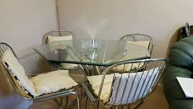Glass hexagon table & 4 chairs