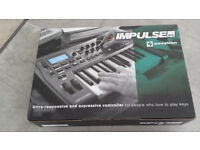Novation IMPULSE 25 Semi-Weighted Keys with Aftertouch/8 Pads/Knobs/Faders/2 Wheels/MIDI In/Out