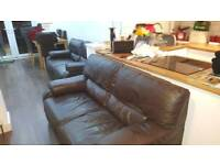 2 x 2 seater chocolate brown real leather sofas for sale