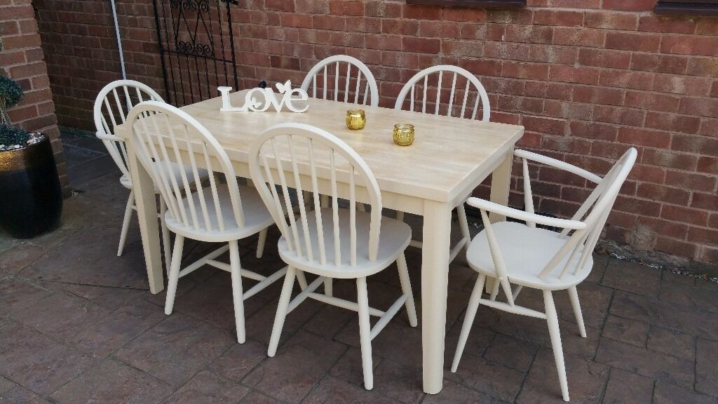 shabby chic solid wood table with 6 chairs