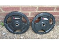 "BodyPower Rubber Tri Grip STD 1"" Weight Plates 2 x 10kgs"