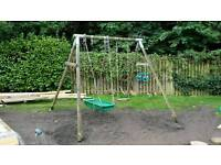 TP Double 'Roundwood' Multi Swing - with normal swing, hammock swing and trapeze bar & rings