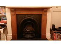 Fire place, pine surround and gas fire