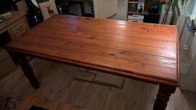 Large Solid Wood Dining Table and Six Chairs