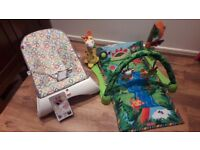 Fisher price play mat and vibrating bouncer
