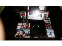 Sony Playstation 3 (boxed) 320 gig hard drive with 10 games and official Sony wireless controller