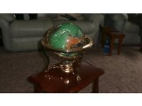 Semi gem stone world globe