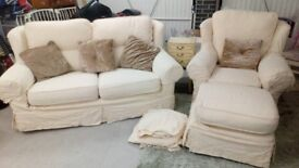 Lovely cream shabby chic winged 3 piece sofa set, large 2 seater, armchair and footstool.