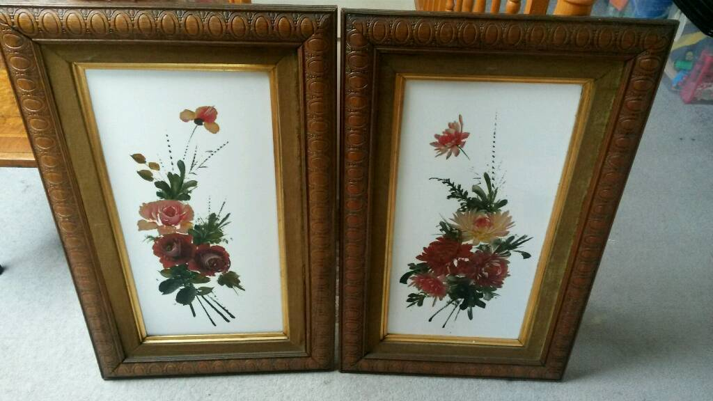 Pair old oil painting