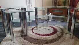 Glass coffee table, pair of nest tables, an TV stand, all excellent mint condition
