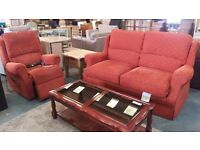Red highback 2 seater and reclining armchair