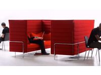 2 red alcove sofas for sale
