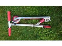 Children's Silver/Red Folding Scooter