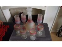 Beautiful set of hand blown glasses from (hand made from Jordan. 1 x Carafe and 7 drinks glasses.