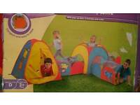 5 in 1 pop up activity centre and pink pop up tent and tunnel