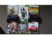 xbox 360 250gb + 2 controllers + 6 games