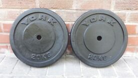 2 X 20KG YORK or TRI GRIP CAST IRON WEIGHT PLATES