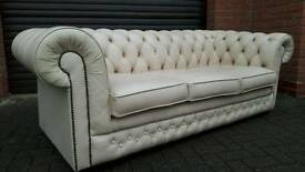 Chesterfield cream leather 3 seater sofa by Thomas Lloyd. EXCELLENT CONDITION! BARGAIN!