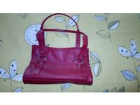 Red leather handbag Debenhams Collection