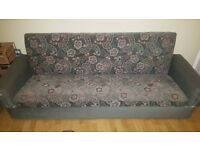 3/4 seater settee in good conditon opens up into sofa bed and has storage space too!!!