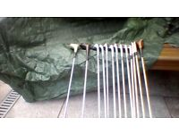 Full set of John Letters golfing irons plus driver, 3 wood, 5 wood and putter