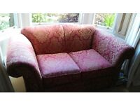 Brocade fabric sofa (gold and burgundy)