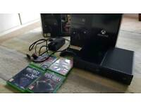 Xbox One with controller, games and original box