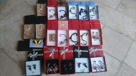 Boxed Earrings and Ear Cuffs in Gift Boxes, 19 NEW pairs boxed