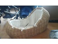 Mothercare wiker moses basket. (RRP £100) in 2014, accepting £18