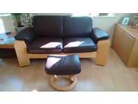 Ekornes Brown Leather Sofa (with optional footstool)