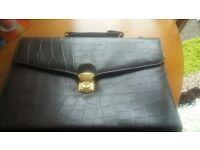 New faux leather dark brown briefcase