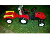 Kids ride on falk tractor and trailer
