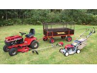 Wheelhorse ride on mower sch trailer honda strimmer and shanks mower