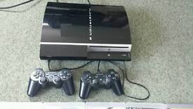 Ps3 with 5 games and 2 controllers, working/faulty