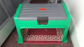 Bench with contained Storage Box & Kneeling Pad for sitting while gardening