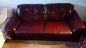 Burgundy Red Leather Couch