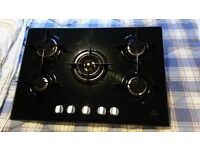 gas hob. indesit black ceramic, 5 burner.