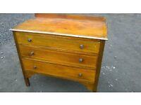 Vintage inlaid three drawer chest