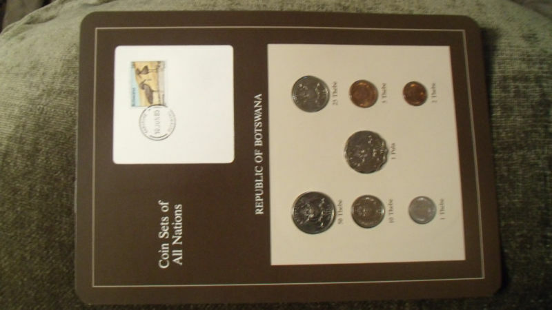 Coin Sets of All Nations Botswana w/card 1981 & 1984 UNC birds 1 Pula 2 Thebe 81